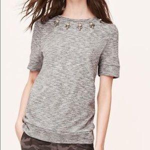 Ann Taylor Loft Gray Jeweled Sweatshirt Sz XS